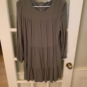 Adeline Clothing tiered green dress, size small.